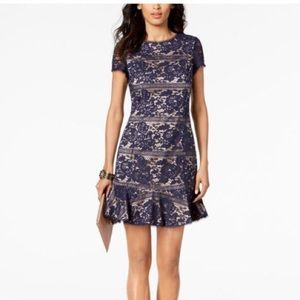 Vince Camuto Short Sleeve Lace Overlay Dress Blue